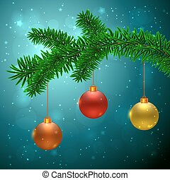 Fir tree with 3 Christmas balls: red, yellow and orange on...