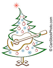 Fir-tree with guitar, pictogram - Christmas fir-tree with...