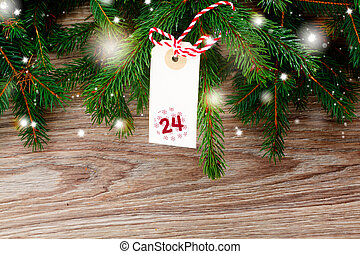 fir tree with merry christmas tag for 24 december -...