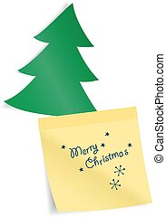 Fir tree with paper sticker. Vector illustration