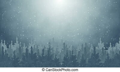 fir trees and snowfall seamless loop - fir trees and...