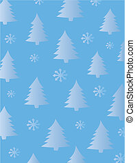 Fir Trees and Snowflakes Background
