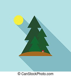 Fir trees icon in flat style