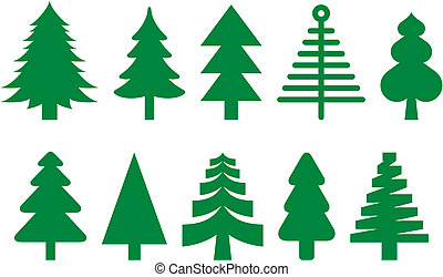 Ten different icons of fir trees.