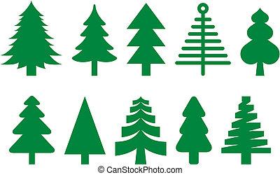 Fir trees set - Ten different icons of fir trees.