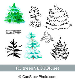 Fir trees vector set