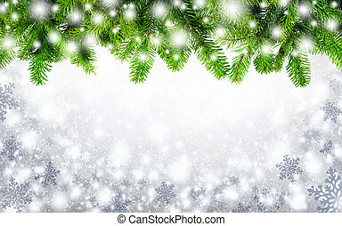 Fir twigs and snow background - Winter or Christmas...