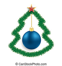 Fir Twigs Christmas Tree Blue Bauble