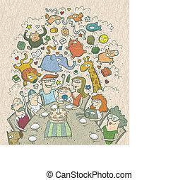 fira, birthday:, hand, oavgjord, illustration, av, a, familj, omkring, bord, och, fe, varelser, above., illustration, är, in, eps10, vektor, mode!