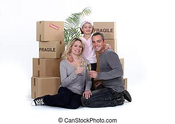 fira, flyttande dag, familj