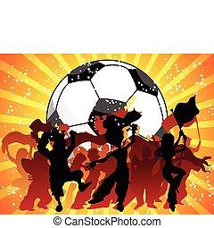 fira, game., folkmassa, fotboll, jättestor