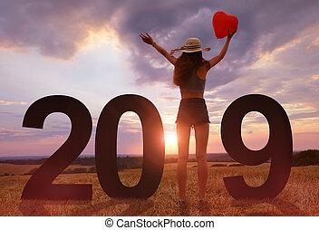 fira, medan, år, färsk, flicka, 2019.