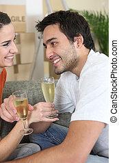 fira, par, flyttande dag