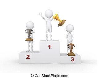 fira, podium., vinnare, återgäldat, illustration., 3