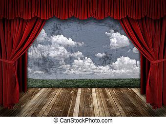 firanki, aksamit, dramatyczny, teatr, czerwony, rusztowanie