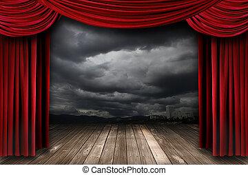 firanki, aksamit, jasny, teatr, czerwony, rusztowanie