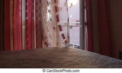 firanki, drzwi, hotel, falować, szklane okno, sypialnia, otwarty