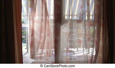 firanki, drzwi, pokój, hotel, falować, szkło, przez, prospekt, otwarty, balkon
