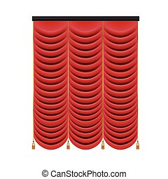 firanki, komplet, teatr, illustration., stage., oczko, wektor, czerwony