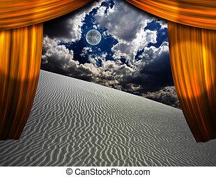 firanki, otwarcie, przez, piach, zobaczony, pustynia