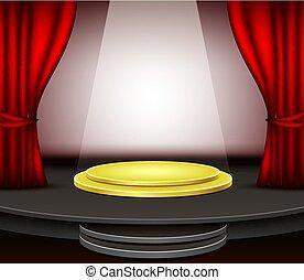 firanki, podium, czerwone tło, rusztowanie