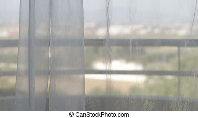 firanki, przenosić, okno., wiatr, prospekt