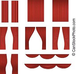 firanki, różny, zbiór, wektor, czerwony, rusztowanie