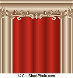 firanki, teatr, czerwony, rusztowanie