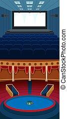 firanki, teatr, illustration., rozrywka, opera, scena, teatralny, wektor, tło, spełnienie, wewnętrzny, stary, rusztowanie, strumienice
