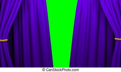 firanki, teatr, kino, ekran, otwarcie, zielony, 4k, ...