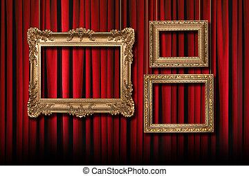 firanki, teatr, złoty, 3, wisząc, układa, czerwony, rusztowanie