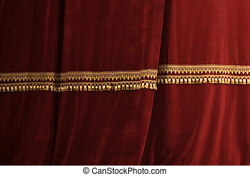 firanki, theater lekki, cień, czerwony, rusztowanie