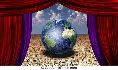 firanki, veiwed, wizerunek, kredyt, nasa, przez, ziemia, otwarty, pustynia
