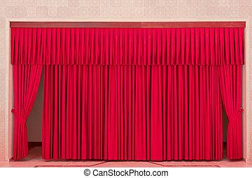 firanki, wewnętrzny, czerwony, teatr
