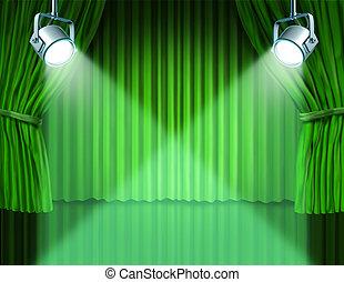 firanki, zielony, aksamit, strumienice, kino