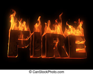 fire  - 3d rendered illustration of burning letters