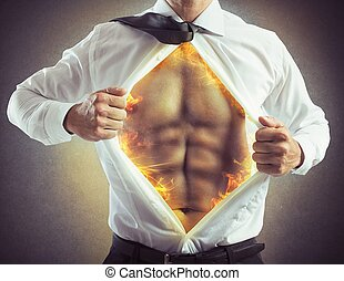 Fire abs businessman - Businessman opens shirt with abs of...