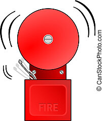 Fire Alarm Goes Off - Red fire alarm goes off and rings the...