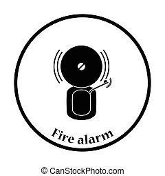 Fire alarm icon. Thin circle design. Vector illustration.