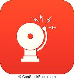 Fire alarm icon digital red