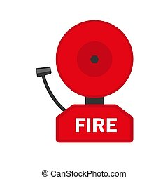 Fire alarm icon, flat style