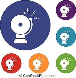 Fire alarm icons set