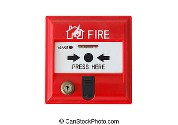fire alarm isolated on white background - red fire alarm...