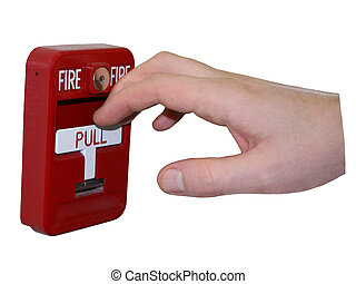Fire Alarm Isolated - Man's hand reaching for the fire alarm...