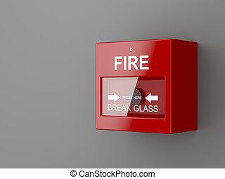 Fire alarm on gray wall