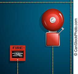 Fire alarm on the wall. Bell, button and wires.