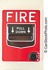 Fire alarm - Red fire alarm on the white wall