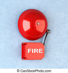 Fire alarm - 3d render of red retro fire alarm on blue wall
