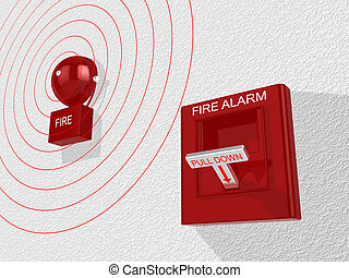 Fire alarm switch activated sounding an alarm