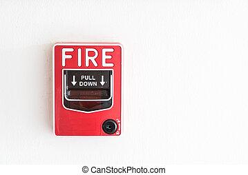 Fire alarm switch on wall - Fire alarm switch on white wall